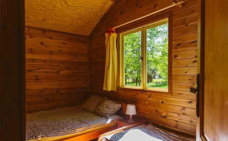 Ausblick vom Schlafzimmer mit Doppelbett in den Birkenhain vom Ferienhaus am Sarbsker See